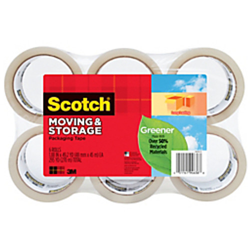 """3M™ - Tape - Scotch® 50% Recycled Long-Lasting Moving & Storage Tape, 1-7/8"""" x 49. 2 yds Rolls - Scotch® 50% Recycled Long-Lasting Moving & Storage Tape - PK of 6"""