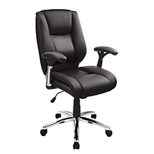 """Realspace® - Chair - Eaton Mid-Back Bonded Leather Chair, 42-3-4"""" h x 27-5-8"""" w x 27"""" d - Black-chrome"""