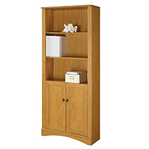 """Realspace® - Bookcase - Dawson 5-Shelf Bookcase with Doors, 72"""" h x 30-1-2"""" w x 11-3-5"""" d, Canyon Maple"""