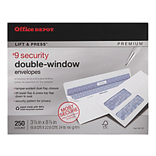 "Office Depot® - Envelope - 100% Recycled Lift & Press Double-Window Envelopes, #9 - 3-7-8"" x 8-7-8"", White,  - 30% Recycled Premium Double-Window Envelo - 250-Pk"