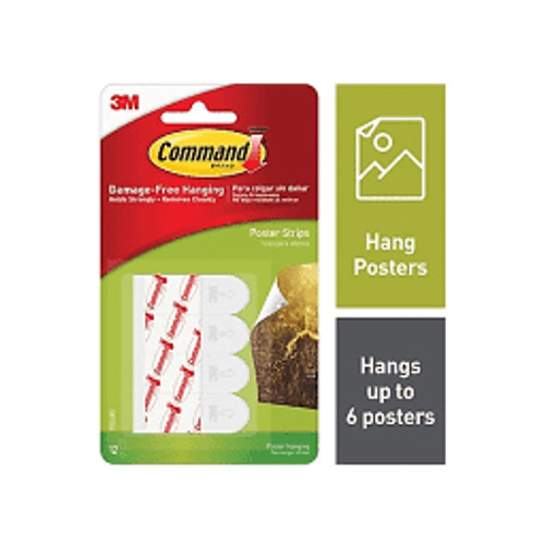 3M™ - Adhesive Strip - Command Removable Adhesive Poster Strips White - PK of 12