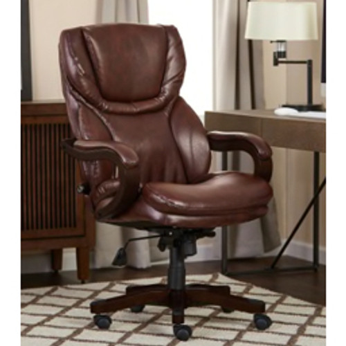 Serta® - Big and Tall Chair - Executive Big and Tall Bonded Leather Office Chair Brown - Brown