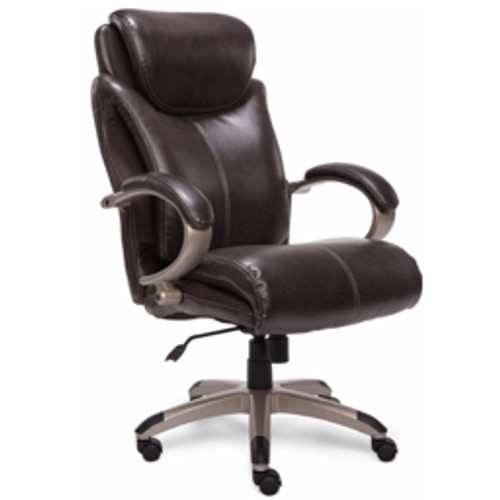 Serta® - Chair - Air Health & Wellness Big and Tall Bonded Leather High-Back Chair Roasted Chestnut/Silver