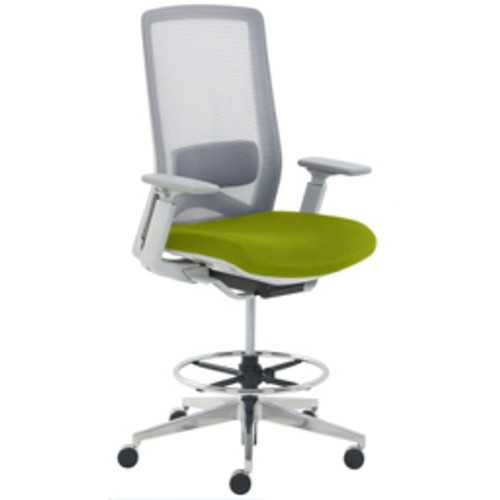 Serta® - Chair - True Commercial Melbourne Sit-to-Stand Mesh/fabric Mid-Back Chair Green/Off-White - White