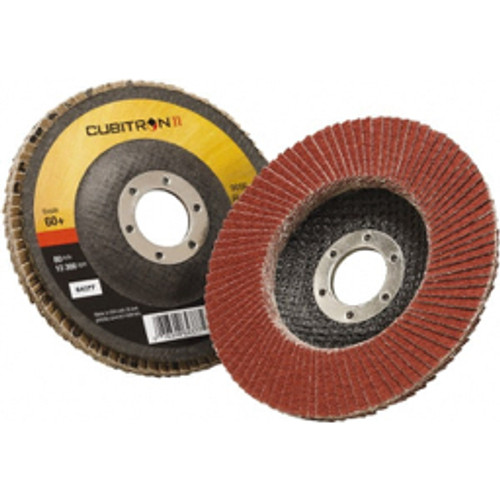 """3M™ - 4-1/2"""" 60 Grit 7/8"""" Center Hole Type 27 Ceramic Flap Disc Medium Grade, Coated, Arbor Attachment, Polyester Backing, 13,300 Rpm - Moq=10, Package Qty=1 - CA of 10"""