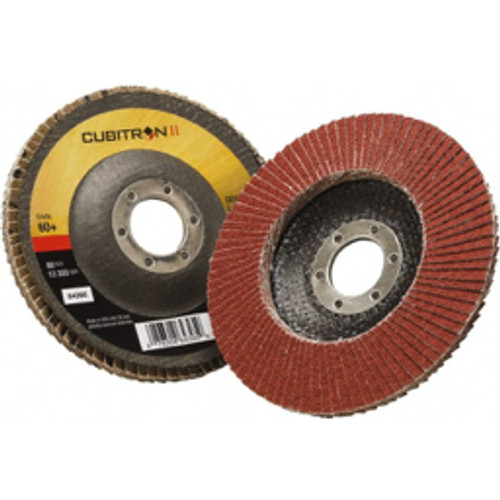"""3M™ - 4-1/2"""" 60 Grit 7/8"""" Center Hole Type 29 Ceramic Flap Disc Medium Grade, Coated, Arbor Attachment, Polyester Backing, 13,300 Rpm - Moq=10, Package Qty=1 - CA of 10"""