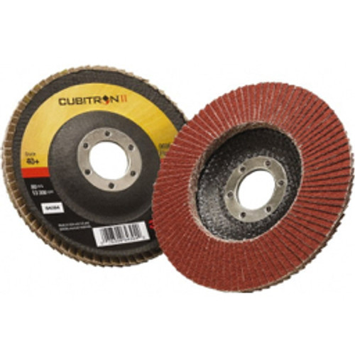 """3M™ - 4-1/2"""" 40 Grit 7/8"""" Center Hole Type 29 Ceramic Flap Disc Coarse Grade, Coated, Arbor Attachment, Polyester Backing, 13,300 Rpm - Moq=10, Package Qty=1 - CA of 10"""