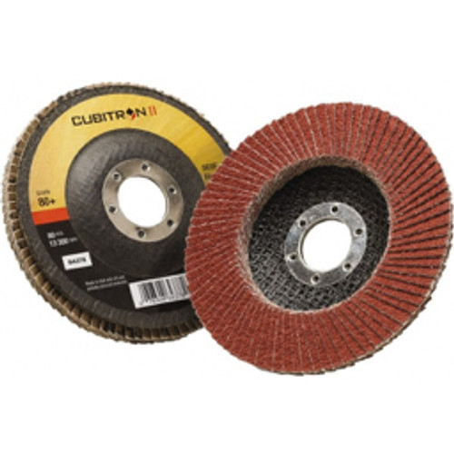 """3M™ - 4-1/2"""" 80 Grit 7/8"""" Center Hole Type 27 Ceramic Flap Disc Medium Grade, Coated, Arbor Attachment, Polyester Backing, 13,300 Rpm - Moq=10, Package Qty=1 - CA of 10"""