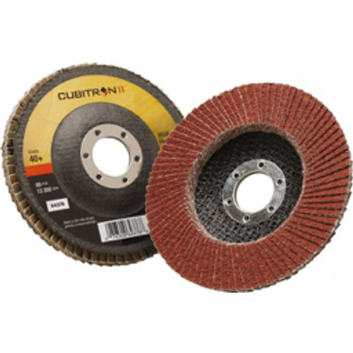 """3M™ - 4-1/2"""" 40 Grit 7/8"""" Center Hole Type 27 Ceramic Flap Disc Coarse Grade, Coated, Arbor Attachment, Polyester Backing, 13,300 Rpm - Moq=10, Package Qty=1 - CA of 10"""