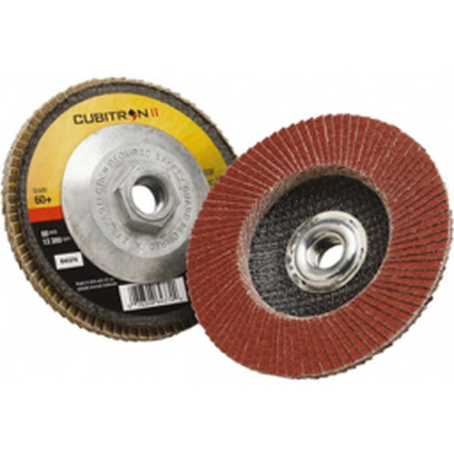 """3M™ - 4-1/2"""" 60 Grit 5/8-11 Center Hole Type 27 Ceramic Flap Disc Medium Grade, Coated, Arbor Attachment, Polyester Backing, 13,300 Rpm - Moq=10, Package Qty=1 - CA of 10"""