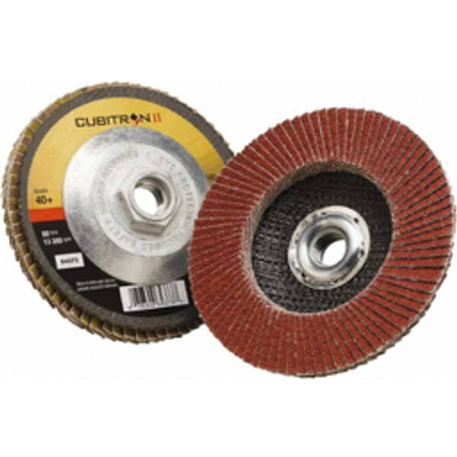 """3M™ - 4-1/2"""" 40 Grit 5/8-11 Center Hole Type 27 Ceramic Flap Disc Coarse Grade, Coated, Arbor Attachment, Polyester Backing, 13,300 Rpm - Moq=10, Package Qty=1 - CA of 10"""