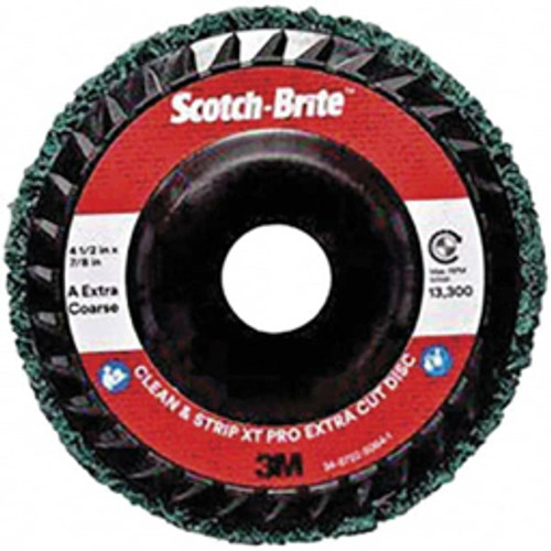 """3M™ - 4-1/2"""" Extra Coarse Grade Aluminum Oxide Deburring Disc 7/8"""" Center Hole, Quick Change Connection, Green, 13,300 Max Rpm - Moq=10, Package Qty=1 - CA of 10"""