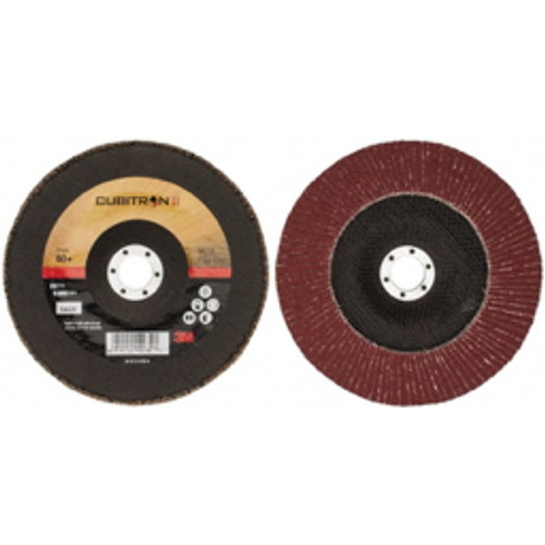 """3M™ - 7"""" 60 Grit 7/8"""" Center Hole Type 29 Ceramic Flap Disc Medium Grade, Coated, Arbor Attachment, Cloth Backing, 13,300 Rpm - Moq=1, Package Qty=1"""
