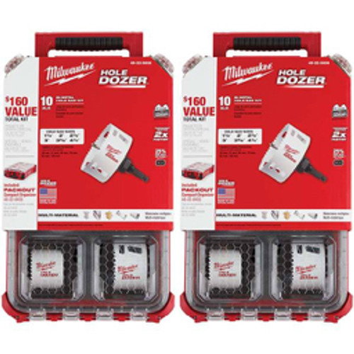 Milwaukee Tool - Hole Saw Kits, Minimum Saw Diameter - in- 1-1/2, Maximum Saw Diameter - in- 4-1/4, Number of Hole Saws- 14, Saw Material- Bi-Metal, Cutting Edge Style- Toothed Edge, Additional Information- Includes 10 Pc. General Purpose Hole Dozer