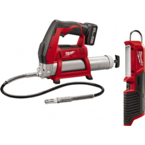 Milwaukee Tool - Battery - 8,000 Max PSI, Flexible Battery-Operated Grease Gun 14 oz - Cartridge & 16 oz - Bulk Capacity, 1/8 Thread Outlet, 3-Way, Bulk, Cartridge & Suction Fill, Includes 30-Minute Charger, Carrying Case, Grease Coupler, M12 Xc Red