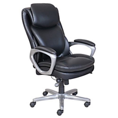 Serta® - Chair - Smart Layers Air Arlington Executive Chair Faux Leather - 45in. h x 27-1/2in. w x 31-1/4in. d - Black/pewter
