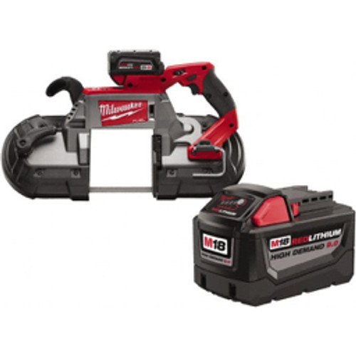 """Milwaukee Tool - 18 Volt, 380 Sfpm Cordless Portable Band Saw 5"""" - Round & 5 x 5"""" - Rectangle Cutting Capacity, Lithium-Ion Battery Included  3276631/4244702"""