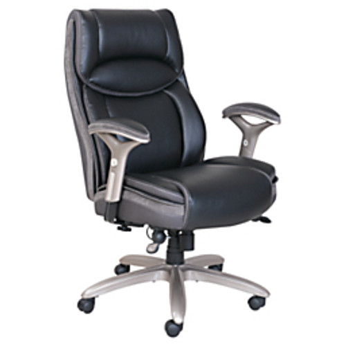 Serta® - Big & Tall Chair - Smart Layers™ Leather - Jennings Super Task - Tested to Support Up to 350 lb - 43 1/ 4H x 28 1/4W x 32 1/2D - Black Slate