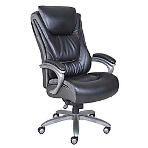 Serta® - Big & Tall Chair - Smart Layers™ Blissfully Bonded Leather High-Back, - Tested to Support 400 lb - 48in. h x 27-1/4in. w x 33in. d - Black/gray1