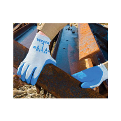 SHOWA® - Gloves - Glove Size 9 Blue Atlas® Fit 300 Natural Rubber Palm Coated Work Gloves with Light Gray Cotton Polyester Lining, Knit Wrist and Rough Finish - CA of 12 PR