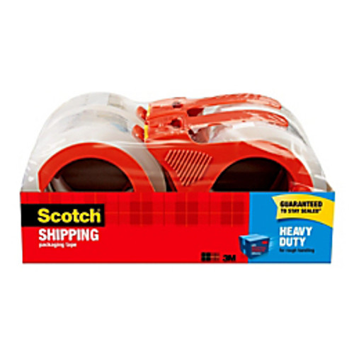 "3M™ - Shipping Tape with Dispenser - Scotch® Heavy-Duty Shipping Tape with Dispenser, 1-7/8"" x 54. 6 yds - PK of 4 KT"