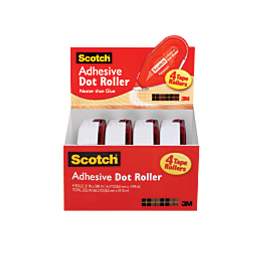 3M™ - Adhesive Mount - Scotch® Double-Sided Adhesive Dot Rollers 1/3in. x 588in. x 0.31in. x 16.3 yds x 49' l x 0.3in. w - clear - PK of 4