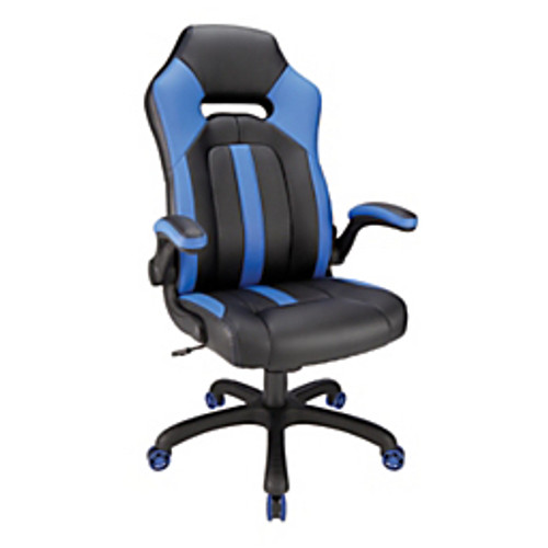 Realspace® - Gaming Chair - High-Back Gaming Chair - Height Range- 46 1/4 - 50in. x 50in. h x 26-3/4 - Blue/Black - 50in. x 30in. x 50in. h x 26-3/4in. w x 26-9/16in. d