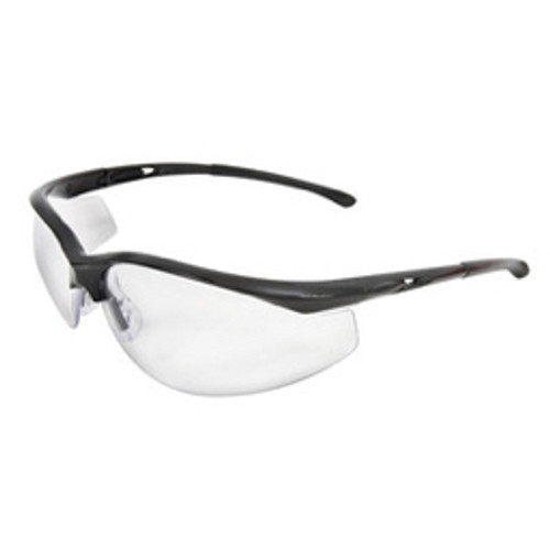 Radnor® - Safety Glasses - Select Series with Black Frame and Gray Anti-Scratch Lens - CA of 12