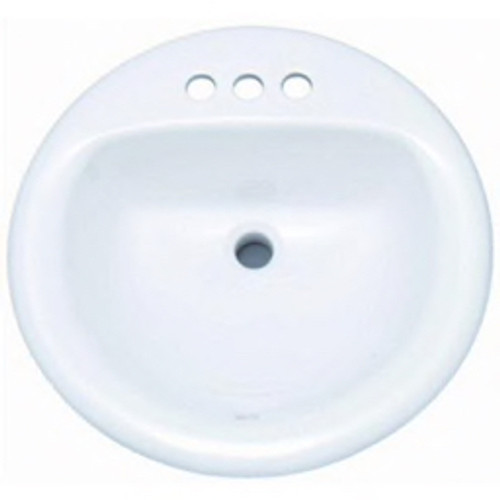 """PROFLO® - Lav Sink - Lavatory Sink - 19"""" 4 Centerset Round Vitreous China Drop in Biscuit"""