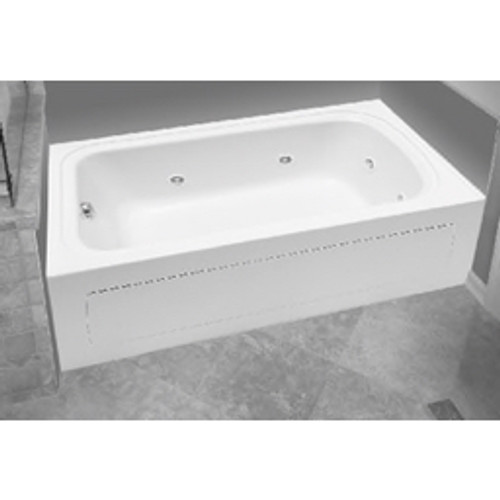 """PROFLO® - Whirlpool Bathtub - Alcove 8 Jet Whirlpool Bath Tub 60"""" x 32 Right Hand Acrylic with Skirt Right Hand Drain and Right Hand Pump White"""