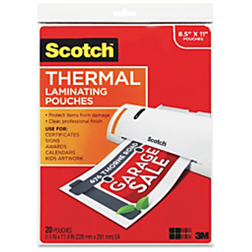"""Scotch™ - Laminator pouches - Thermal Laminating Pouches - Sheet Size Supported- Letter 8.50"""" w x 11"""" l x 3 Mil Thickness - Laminating Pouch/sheet Size- 9"""" Width x 11.50"""" Length x 3 Mil Thickness - Glossy - for Document - 20/Pk"""