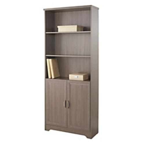 """Realspace® - Bookcase - Magellan Collection 5-Shelf Bookcase with 2 Doors - 72"""" h x 30-1-2"""" Gray"""