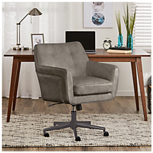 "Serta® - Chair - Ashland Home Mid-Back Leather Office Chair 34 3-4 - 36-3-4"" h x 25-1-2"" w x 28-1-4"" d - Leather, Gray-chrome"