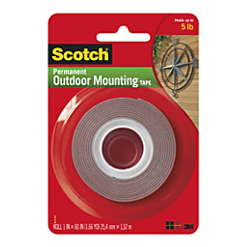 Scotch™ - Adhesive mounts - Permanent Outdoor Mounting Tape Core - Adhesive Backing - Double-Sided - 1in. w x 5' l x 1in. - white