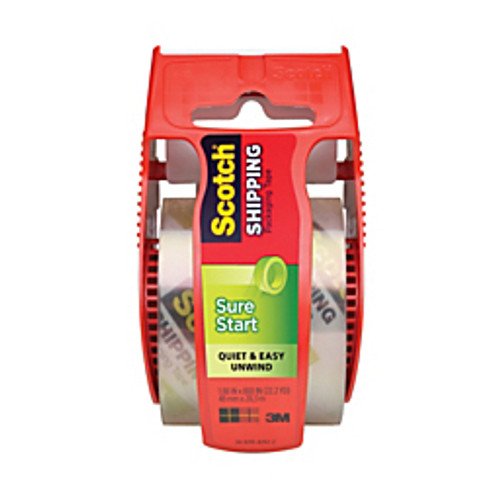 "3M™ - Shipping Tape - Scotch® Sure Start Shipping Tape with Dispenser, 1-7/8"" x 22. 2 yds Clear - PK of 6"