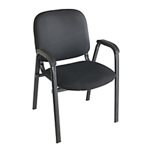 "Realspace® - Stacking Chair - Stacking Guest Chair W-arms - 33-1-4"" h x 22-1-2"" w x 22-1-4"" d - Black-black"
