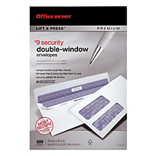 "Office Depot® - Envelope - 100% Recycled Lift & Press Double-Window Envelopes, #9 - 3-7-8"" x 8-7-8"", White, - 30% Recycled Premium Double-Window Envelo - PK of 500"