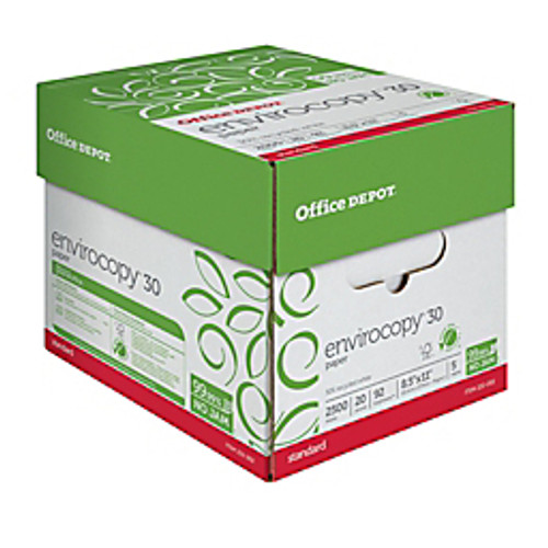 "Office Depot® - Copy Paper - EnviroCopy® 30 Paper, 8-1/2"" x 11"", 20 lb, 30% Recycled, Fsc Certified, - CT of 5 RM"
