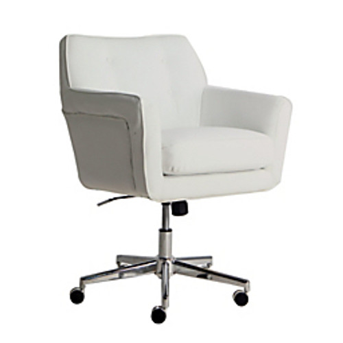"Serta® - Chair - Ashland Home Mid-Back Office Chair - 34 3-4"" x 36 3-4"" H x 25 1-2"" W x 28 1-4"" D -Leather, White-chrome"