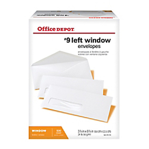 "Office Depot® - Envelope - Window Envelopes, Window on Bottom Left, #9 - 3-7-8"" x 8-7-8"", White, Box of 500 - Window Envelopes - 500-PK"