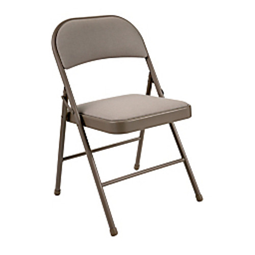 """Realspace® - Chair - Upholstered Padded Folding Chair, 30-1-2"""" h x 18-1-10"""" w x 18-1-2"""" d - Tan-brown - CA of 2"""