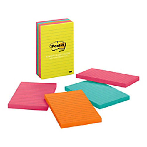 3M™ - Note Pad - Post-It® Notes - 4 x 6, Lined, Capetown - PK of 5