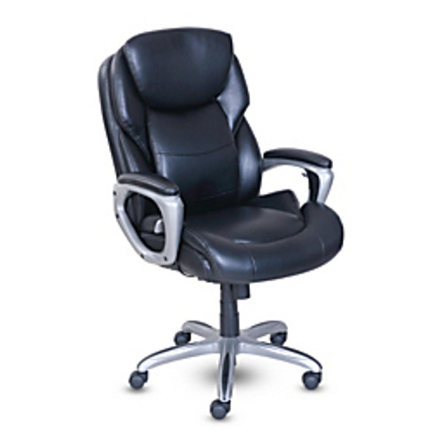 """Serta® - Chair - My Fit Faux Leather High-Back Chair with Active Lumbar Support - 43 1-2"""" to 47 1-4""""H x 26-3-4"""" w x 31"""" d, - Black- Silver"""