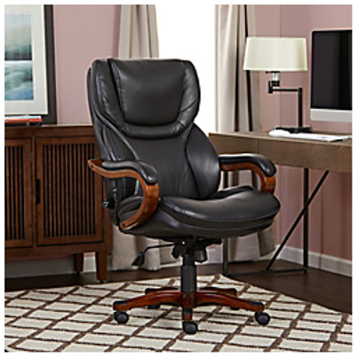 """Serta® - Big & Tall Chair - Faux Leather High-Back Office - Support Up to 350 lb - 43-1-2"""" x 47"""" h x 27-1-4"""" w x 30-1-2"""" d - Black Bonded Leather"""
