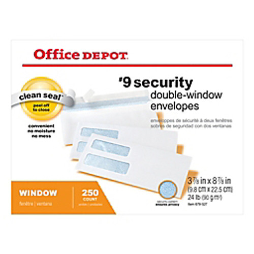 "Office Depot® - Envelope - Double-Window Envelopes, #9 - 3-7/8"" x 8-7/8"", White, Clean Seal, Box of 250 - Double-Window Envelopes, #9 3-7/8"" x 8 - PK of 250"