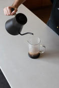 Barista using Fellow Stagg pourover electric kettle