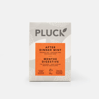Pluck Tea – Box of 'AFTER DINNER MINT' Herbal tea sachets, 15x per bag