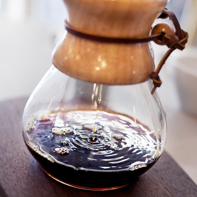 Chemex with coffee brewing