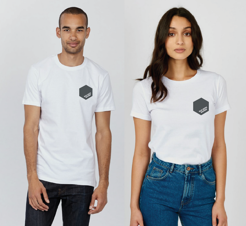 Male and female model wearing PCR x KOTN T-shirt