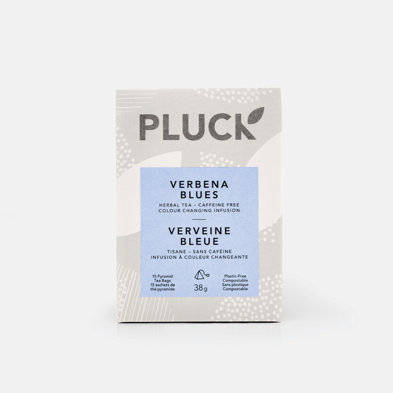 Pluck Tea – Box of 'VERBENA BLUES' Herbal tea sachets, 15x per box